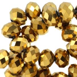 15 x Top facet kralen 6x4mm disc Gold metallic