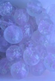 10 x glaskraal transparant rond met binnen in roze staafje en witte bolletje  11 mm