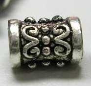 20 stuks tibetaans zilveren kraaltjes ovaal 5 x 7,3mm gat: 2,2mm