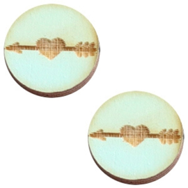 2 x Houten cabochon basic 12 mm arrow&heart Sea green