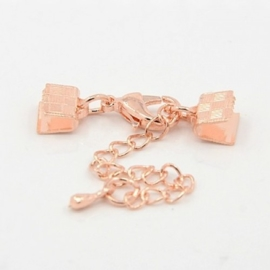 Rose Gold veterklem met sluiting incl. verlengketting 7mm