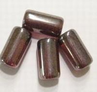 10  x Glaskraal langwerpige ton 18 mm antraciet kleur