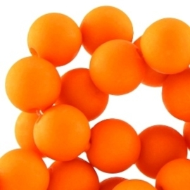 10 stuks Acryl kralen mat rond 12mm Puffin orange