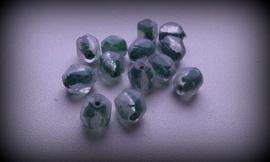 10x facetkraal transparant-Groen met zilverfo 10 mm
