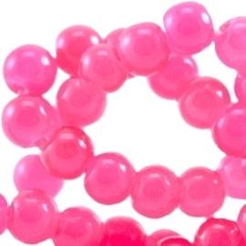 20 stuks  glaskralen opaal vintage 6 mm  Fluor roze