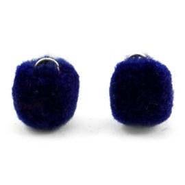 2 x Pompom bedel met oog zilver 15mm Crown blue