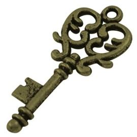 4 x Tibetaans zilveren sleutel geel koper 33 x 14 x 2mm gat: 2mm