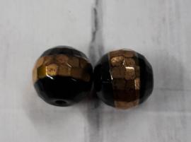 10 stuks facetkralen zwart-bruin met olie glans (AB) 10mm Gat 1mm