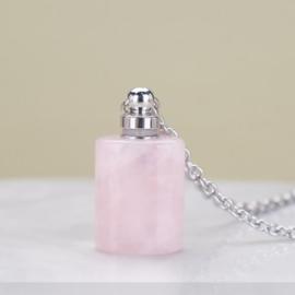 Gedenk hanger mini urn van half edelsteen Rose Quartz met RVS ketting