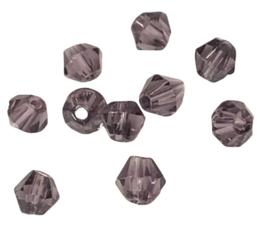 20 x Pesciosa bicone kristal kralen 4 mm gat 1 mm aubergine