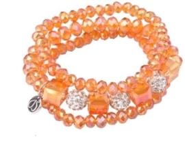 Workshoppakket DoubleBeads armband met glas kristal kralen en strassbollen