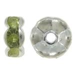 50 stuks Verzilverde Kristal Rondellen 7 mm licht groen