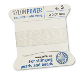 Griffin Nylon Power no stretch - extra strong 2 meter met naald  No: 3 Ø 0,50mm wit