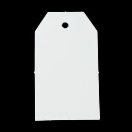 50 stuks stevige blanco witte labels prijskaartjes voorzien van ponsgat  40 x 70mm