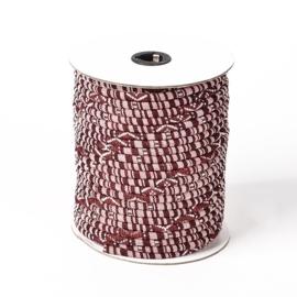 20 cm Trendy gestikt Aztec koord 6mm oud roze / bordeaux rood