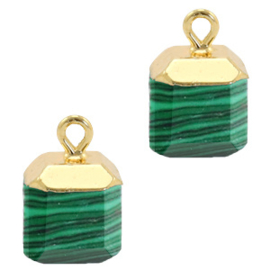 1 x Natuursteen hangers square Green-gold Peacock stone