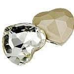 2x Kristallen cabochon in de vorm van een hart, achterzijde silver plated 14 x 15mm