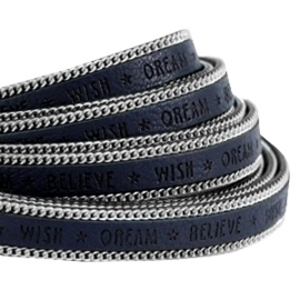 20 cm  Quote imi leer 10mm met schakelketting zilver Wish dream believe Dark midnight blue