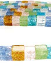 Crackle glas kralen vierkant