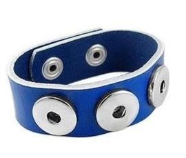 Drukker armband van runderleder en drukknoopsluiting enkele rij voor drie verwisselbare drukkers blauw