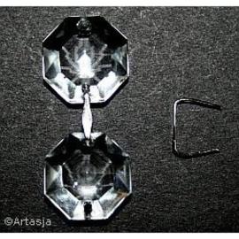 10 x Koppelstuk kroonluchterkralen, 11x9 zilver