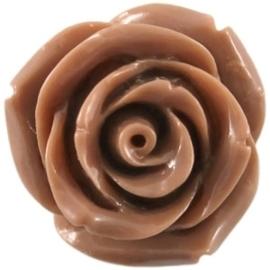 2 x  Kraal roos 22 mm Lever bruin met rijggat