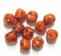 10 Stuks Glaskraal grillig rond oranje/terra gemeleerd 9 mm
