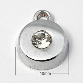 2 x zware kwaliteit metalen strass hanger rond platinum 10 x 4mm gat 2mm