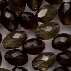 10 x ovaal Tsjechië  glas kalen 12mm Kleur: bruin grijs gat c.a.: 1mm
