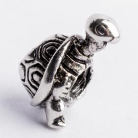 Be Charmed schilpad kraal zilver met een rhodium laag (nikkelvrij) c.a.11x 9mm groot gat: 4mm