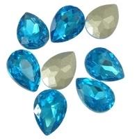 2x Kristallen facet cabochon in de vorm van een druppel 13 x 18mm aqua