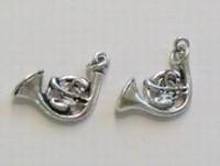 Per stuk Antiek zilveren metalen bedel hoorn 20 mm