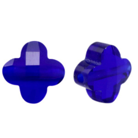 Fashion Facet kralen klaver Cobalt blue gat: Ø1.4mm