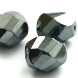10 x Top helix vorm 10 mm facetkraal Jet Grijs/zilver