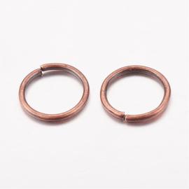 100  ringetjes 5mm Rood koper kleur 0,7mm dik