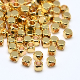 10 x DQ metalen kraal messing kubus 4 mm goudkleur gat: 2mm nikkelvrij