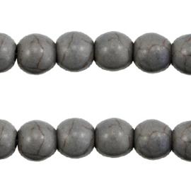 10x Keramiek turquoise kralen rond 8mm Donker grijs