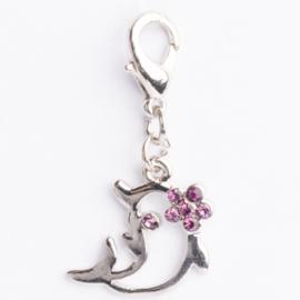 Be Charmed dolfijn bedel met karabijnsluiting zilver met een rhodium laag (nikkelvrij)