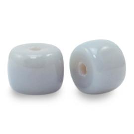 10  x rondellen glaskralen Haze grey   8mm