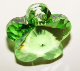 Swarovski kristal  facet Hanger bloem 13 x 13x 8mm gat 1mm green