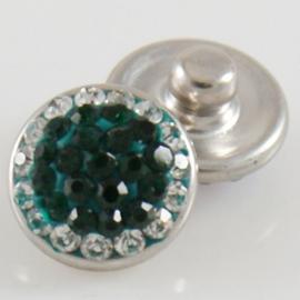 Drukker Rhinestone green and white - 12 mm click