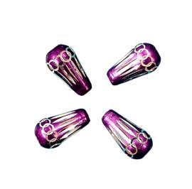 10 x Prachtige paarse aluminium kraal Afm. 15mm x 5~8mm
