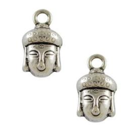 2 x Bedel Buddha 14x8 mm Antiek Zilver