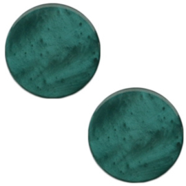 1 x 20 mm platte cabochon Polaris Elements Mosso shiny Deep lake teal blue