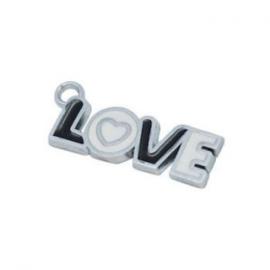 2 x Kinderkralen Metalen Bedel Love zwart wit 32x11 mm