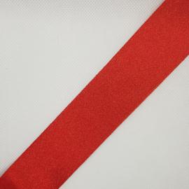 1 meter geschenkband-lint 38mm rood gouden glitter