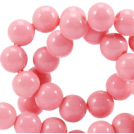 30 stuks  4mm glaskralen opaque Rouge pink gat: 1mm