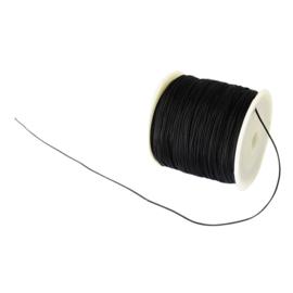 1 rol 90 meter gevlochten nylon koord, imitatie zijden draad 0,8mm zwart