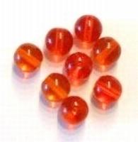 10 x Glaskraal rond transparant oranje AB 12 mm