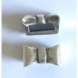 Per stuk antiek zilveren kraal/schuifkraal strik 14 x 8mm gat: 10 x 3mm